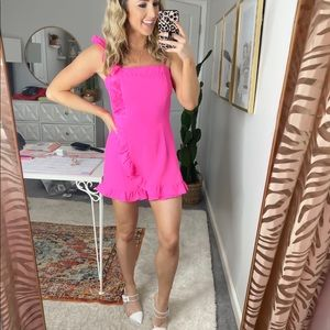 NWT assymetrical hot pink romper